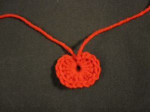 finished crochet apple ornament