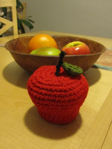 amigurumi apple paperweight