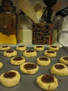 thumbprint cookies with chestnut spread