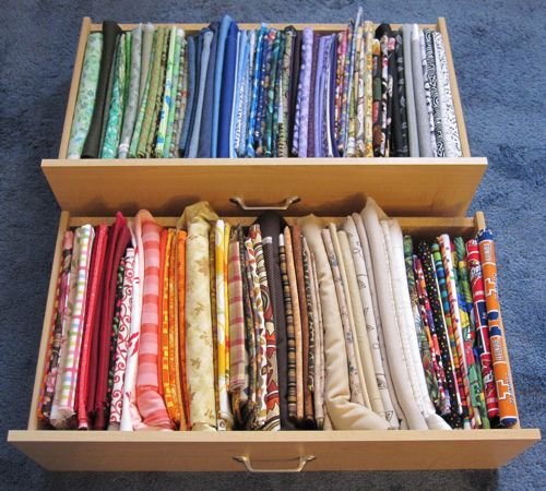 fabric stored like file folders in drawers