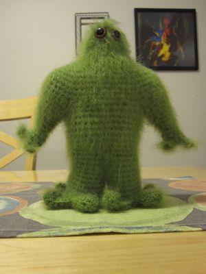 Stumpy the crocheted green monster