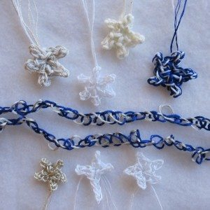 blue, white, and silver ornaments