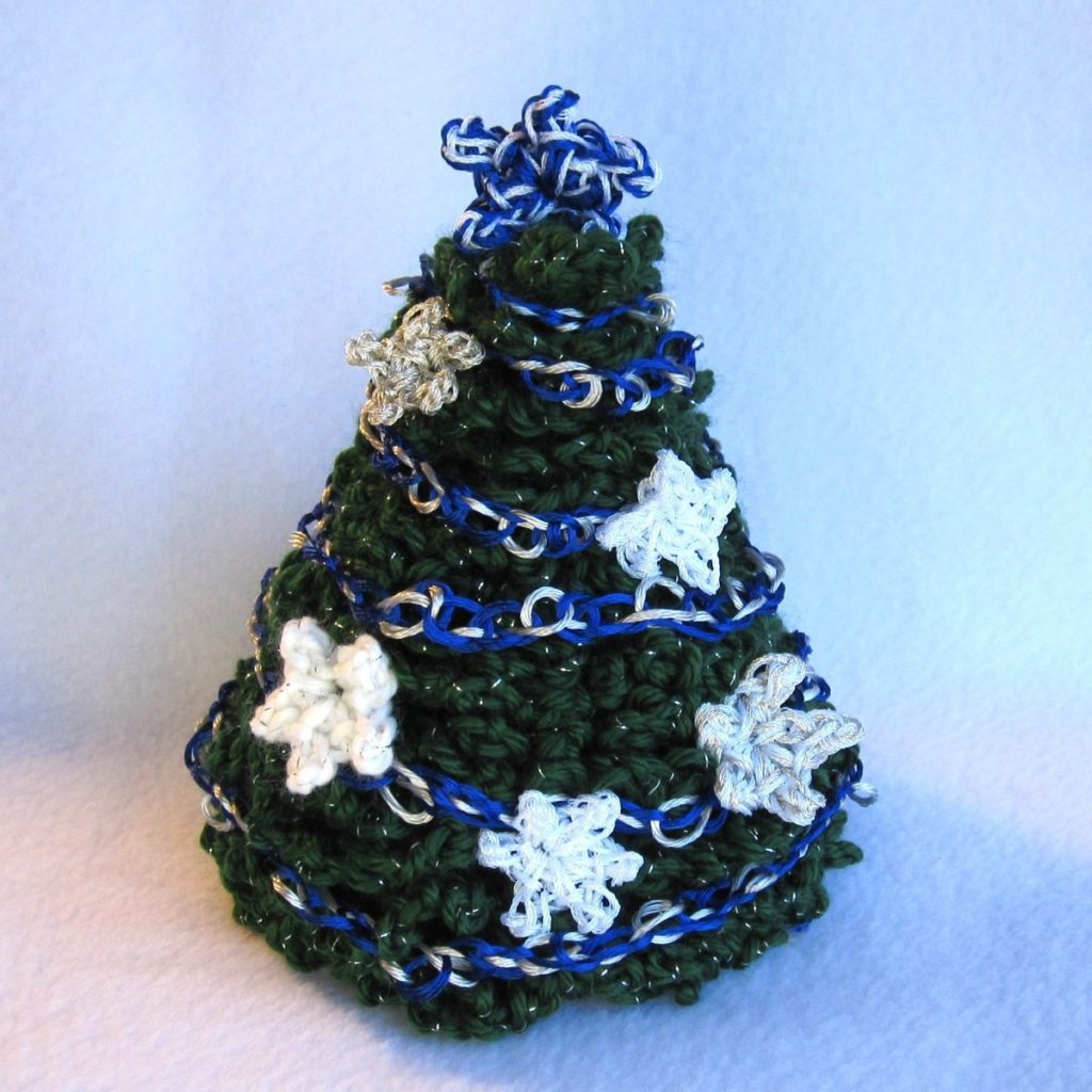 blue, white, and silver tree