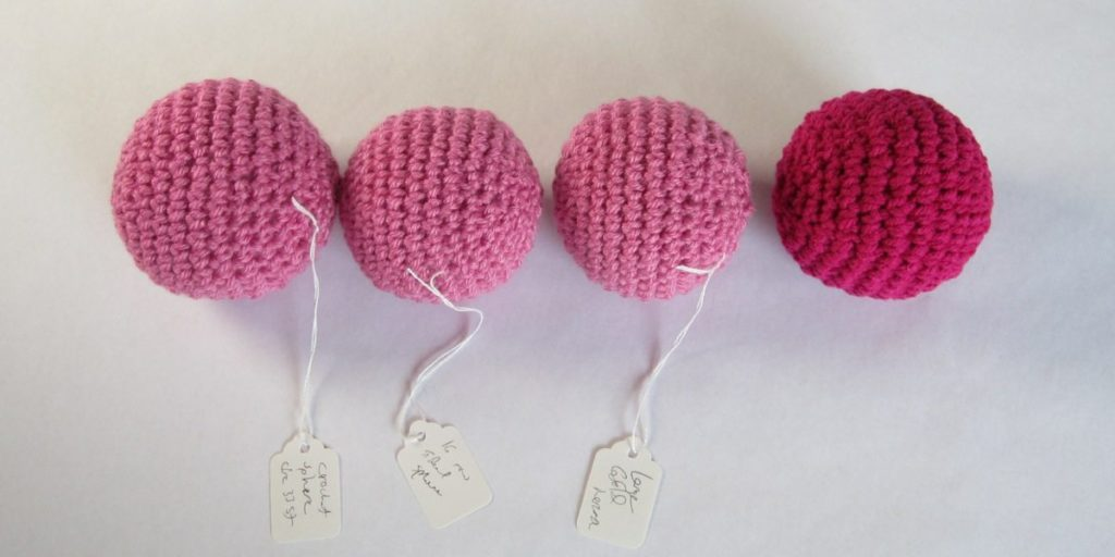 large crochet spheres, side view