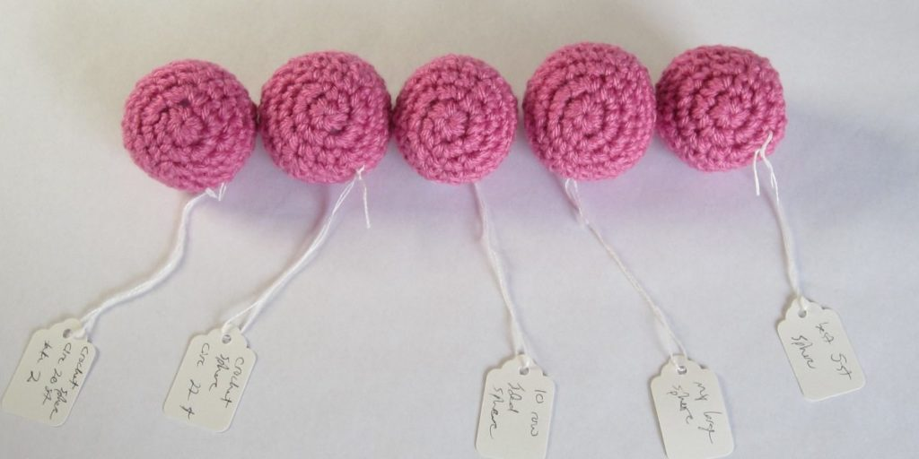 small crochet spheres, front view