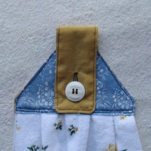 fabric towel topper, finished and buttoned