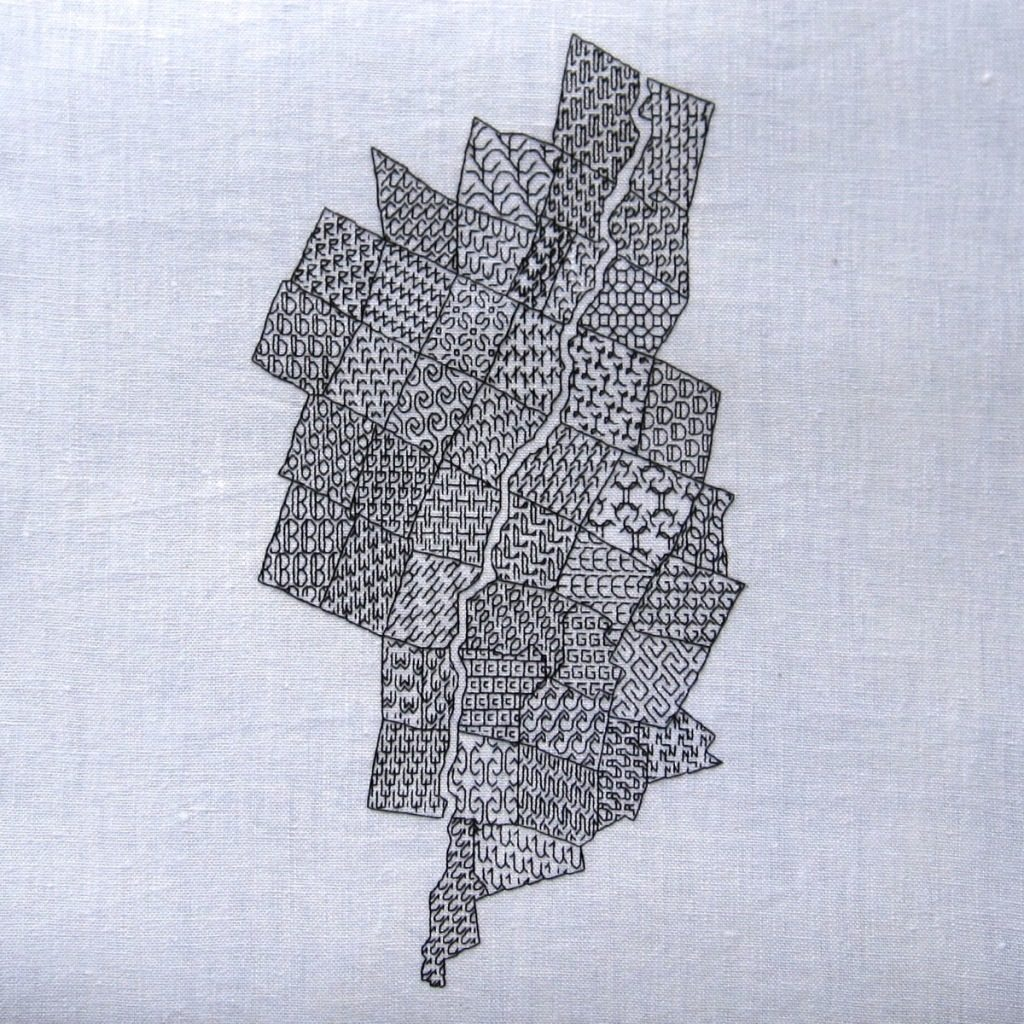 completed blackwork embroidery map