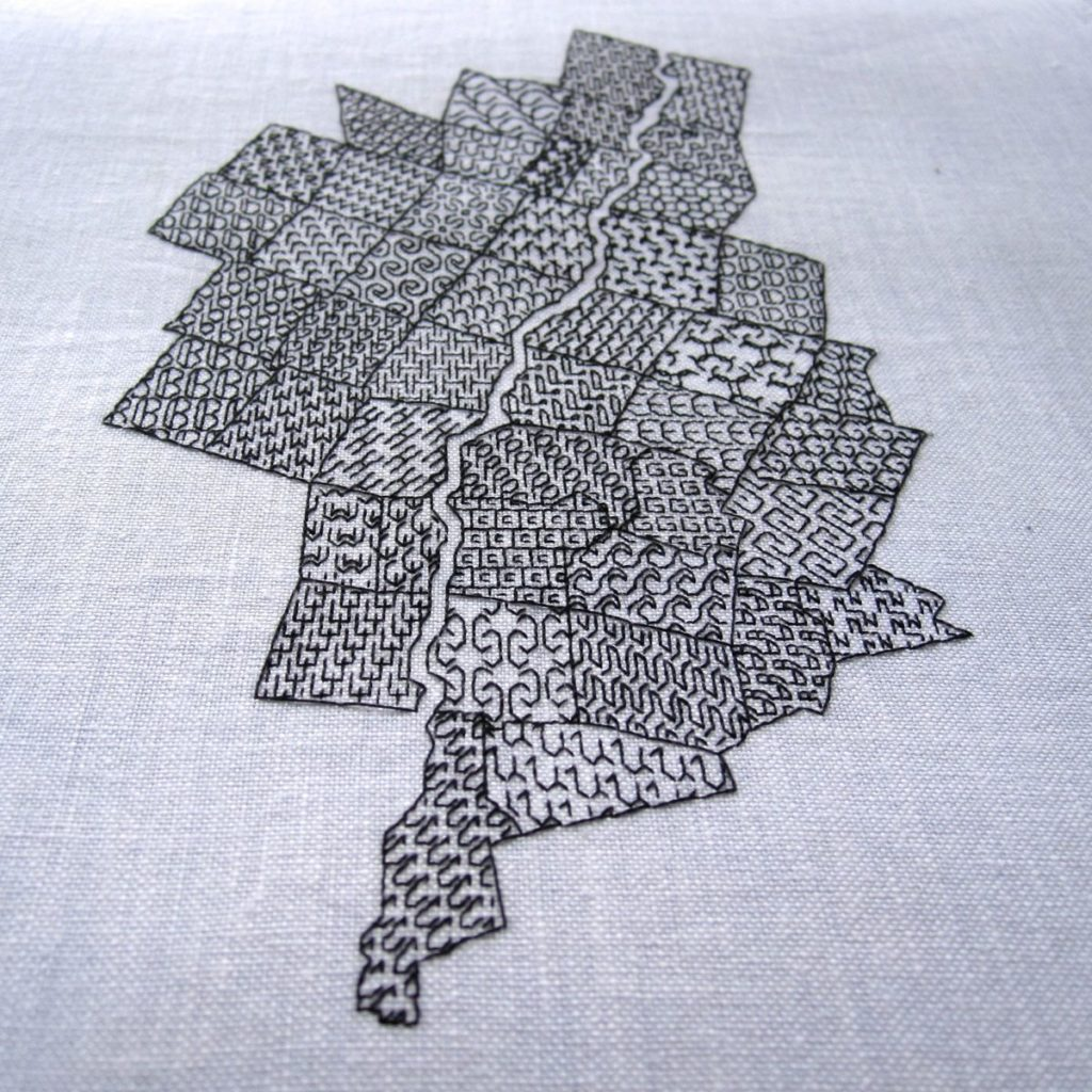 completed blackwork map from southern end