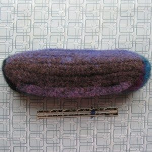 partially felted pencil pouch
