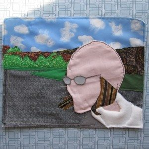 photo of completed background with head, hair, glasses, and jacket