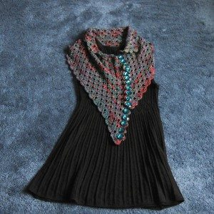 Multiplicity shawl, buttoned asymmetrically