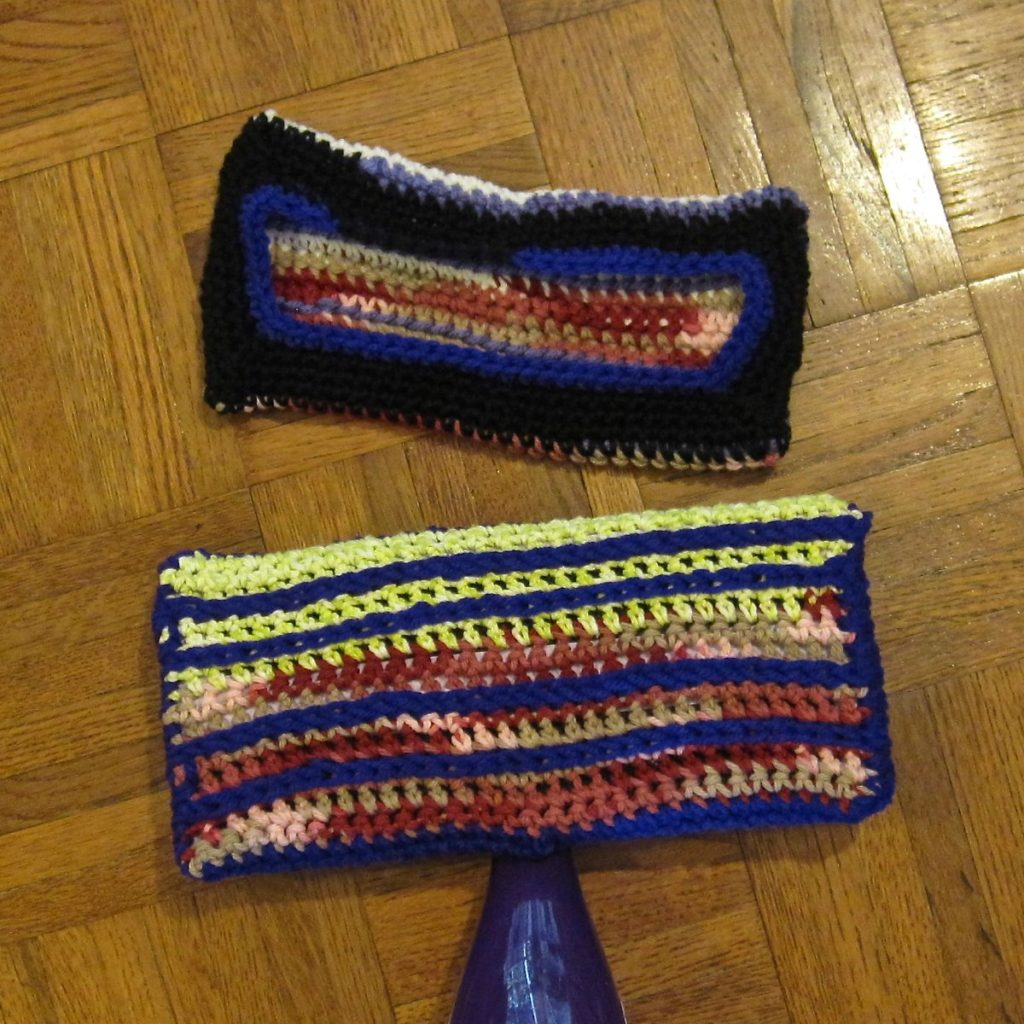 photo of two crochet mop covers