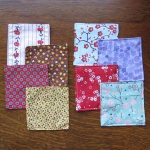 old and new fabric coasters