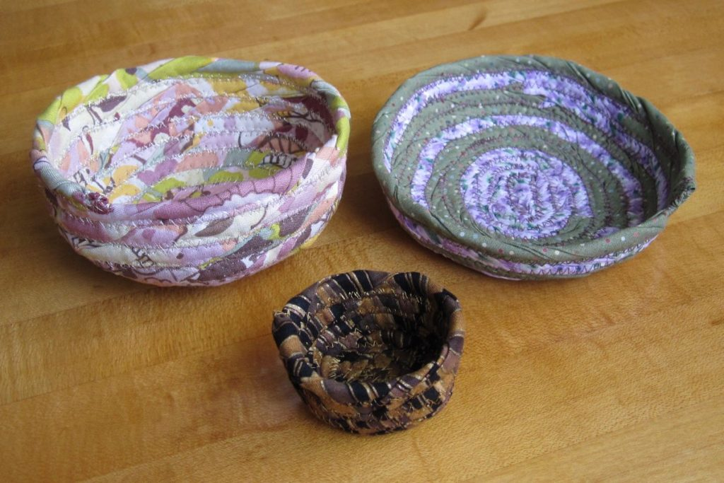 three fabric bowls